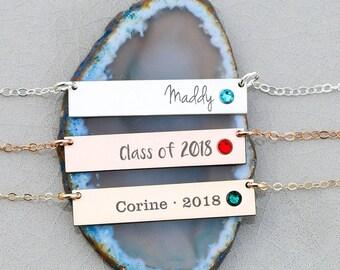 Graduation Necklace Birthstone • Sterling Silver Birthstone Bar Necklace Name Engraved • Swarovski Crystal Jewelry Necklace Grad Gift BB_18