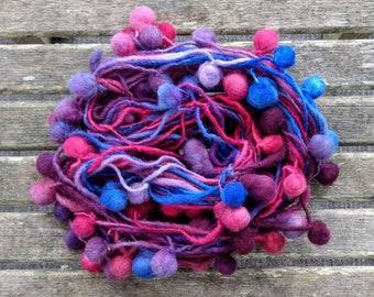 Art Yarn with Pompoms for Knitting, Weaving or Crochet; Handspun Yarn, Pom Poms, Felt Balls, Bobbles, Garland, Bunting, Pompom Scarf
