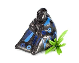 VINTAGE: Oaxaca Black Clay Woman Art - Zapote Indigenous People - Barro Negro - Woman Sculpture - SKU 25-C5-00011563