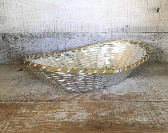 Basket Metal Basket Brass and Silver Basket Mid Century Basket Gift Basket Easter Basket Fruit Basket Centerpiece Base