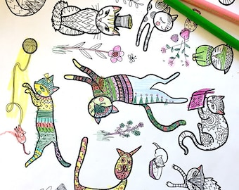 Cats - Coloring page, print youself, instant download, kids of all ages, music lover, kid activity sheet