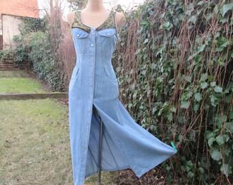 Long Dress / Jeans Dress / Dress Vintage / Hippie / Boho / Size EUR38 / UK10 / Pencil Dress / Buttoned Dress / Pencil Dress