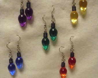 Christmas light earrings, Bright colors, House , tree lights