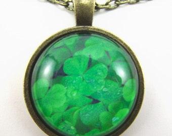 LUCKY CLOVER Halskette--Irischen Kleeblatt, Kleeblätter, viel Glück token, Freundschaft token