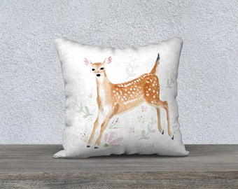 Fawn Cushion Cover - Baby deer with pink flowers and green ferns, Pink, Mint green, White,  Decorative Cushion, Greenery, Girl room, Baby