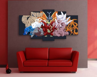 Tailed demons of biju, Tailed demons of biju art, Biju art, Biju print, Biju canvas, Jinchuriki, Jinchuriki art, Jinchuriki canvas