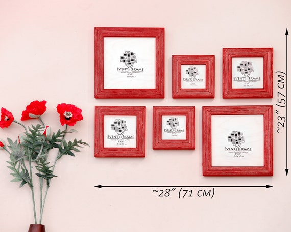Gallery wall Picture Frame Set of 6 Square Photo Frames, Size 8x8 ...