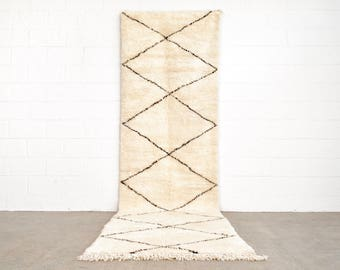 Floor Rug, Moroccan Rug, Vintage Moroccan Beni Ourain Handwoven Wool Floor Rug Runner