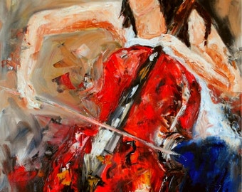 The Cellist-FINE ART PRINT Abstract Impressionism Cello Musician Oil Painting