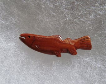 Fish (trout) Jewelry Pin - handcarved and handpainted  (natural wood finish)