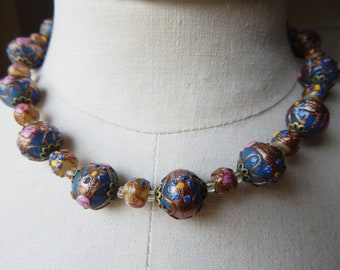 A Necklace Made with Vintage 1950s Venetian Murano Glass Wedding Cake Beads - Fiorato - Re-Strung Necklace