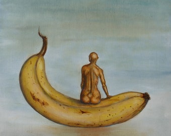 Original, surreal banana,  oil painting on stretched canvas by artist Ilse Hviid. På banan, On the banana. Fruit wall decor, fruit painting