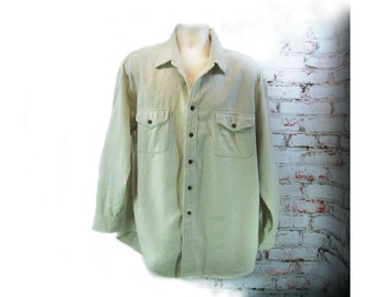 men's cream shirt, Men's button down shirt, Long sleeve shirt, St. John's Bay Shirt, size XL ,   # 13