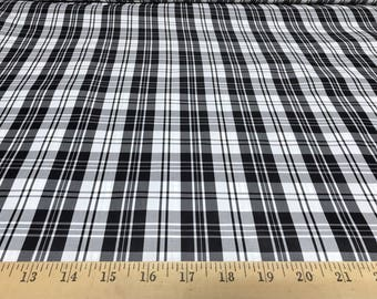 """Black & White Plaid 100% Polyester Taffeta Fabric 58"""" wide sold by the yard"""