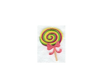 Whimsical Lollipop- I Will Machine Embroider This Design On To Your Custom Item