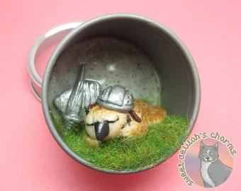 Owlbear Fighter Magnet Terrarium - Recycled Tea Tin - Tabletop D&D Miniature
