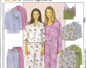 McCall's Easy Endless Options Pattern 3445 NIGHTSHIRT PAJAMAS CAMISOLE  Misses Sizes Xsm Sm Med