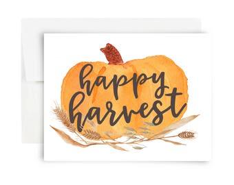 Happy Harvest Greeting Card - Blank Notecard Pumpkin Thanksgiving Fall Thanks Thank You Greetings Just Because Friendsgiving Squash November