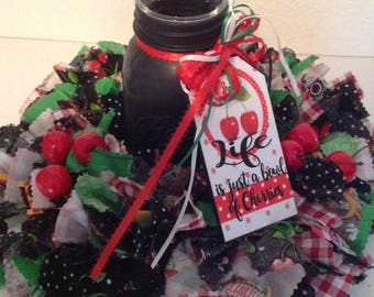 Cherries Wreath, Mary Engelbreit Wreath, Lie Is Bowl Of Cherries Wreath / Votive, Mason Jar Votive, Farmhouse Decor, Country Primitive