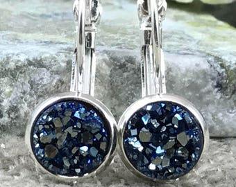 Metallic Blue Druzy Earrings - Druzy - Leverback Earrings - Bridesmaid Gift - Drusy - Metallic Earrings - Druzy Jewelry - Earrings - Blue -
