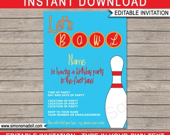 Bowling Invitation Template - Birthday Party - INSTANT DOWNLOAD with EDITABLE text - you personalize at home