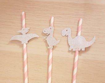 Dinosaur straws, dinosaur paper straws, pink dinosaur party, girls dinosaur party, dinosaur party decorations, pink dinosaur straws
