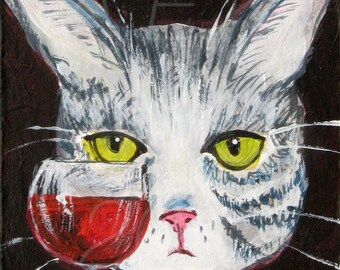 Gray Tabby Cat with Wine Print - Funny Cat Art - Edith Has Issues Cat Print - Cat Gift Idea - Gift For Cat Lover - Cat with Wine