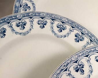 "Antique ironstone plates from the french factory ""SAINT AMAND et HAMAGE"" ""Santiago"" collection."