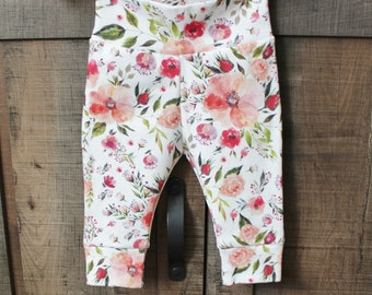 Pink Roses Organic Baby Pants, Organic Baby Floral Leggings, Handmade Organic Baby Clothes, Newborn Organic Clothes