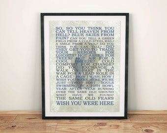 Pink Floyd Decor - Wish you were here - Song Lyrics - Print Art Home Decor - Wall Poster - Music Art Print - Printable - Digital Download