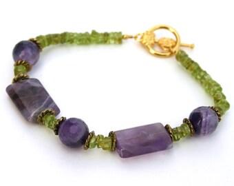 Her Purple and Green Bracelet, Gemstone Bracelet, Beaded Bracelet