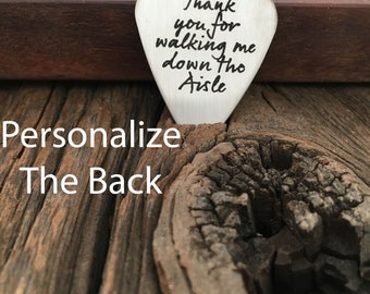 Thank You For Walking Me Down The Aisle Guitar Pick Personalized Guitar Pick Unique Gift For My Father Personalized Wedding Gift For Dad