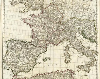 Antique map of Europe at 1763,ancient, old map,art deco,vintage decor
