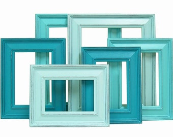 Shabby Chic Picture Frame Set 8x10 5x7 4x6 Rustic Picture Frames Shabby Chic Picture Frames Beach Wedding Decor Turquoise or Custom Colors