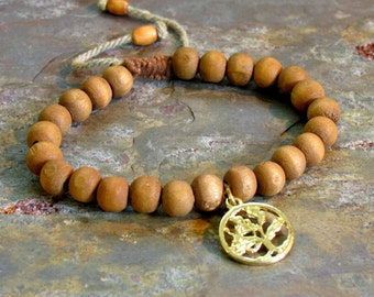 Tree Of Life Hemp Bracelet with Wooden Beads ~ Adjustable Brown Wood Bead Bracelet ~ UNISEX Style