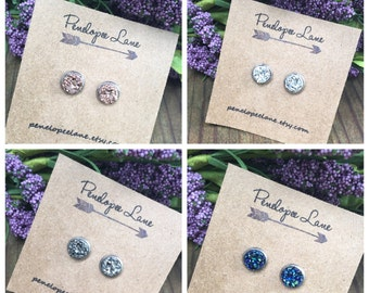 8 mm Faux Druzy Glitter Stainless Steel Hypoallergenic Earrings Bridesmaids Gifts Wedding Party Jewelry