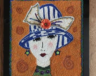 Hand Hooked Art Deco Girl