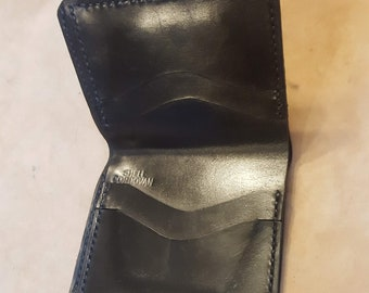 Third Pig-Plotted Chart-Black Shell Cordovan Hand Stitched Bi-Fold Wallet USA Cash and Cards