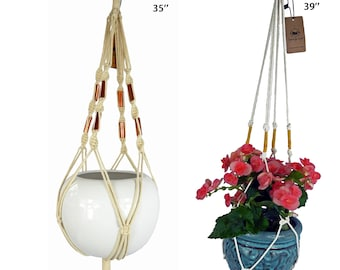 Macrame Plant Hanger/Set of 2/39'' 35'' long/indoor hanging planter/hanging plant holder/braided white cotton cord/modern macrame hanger