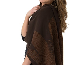 Chocolate Brown Feathers WRAP - Easy Care merino wool knitted jacquard    Australian made & designed    Birds    Scarf