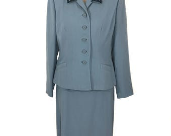vintage 1940's beaded skirt suit / Lady Scott / light blue wool / deadstock women's suit / tailored jacket skirt / size large