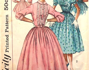 Shirtwaist Dress with Tucks Bust 34 Size 14 Vintage Sewing Pattern Simplicity 2126
