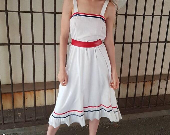 Vintage vtg Flirty early 80s does 50s Ribbon Trim White Full Skirt Summer Dress with Smocked Back 1980s s m