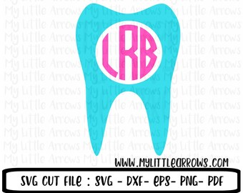Tooth monogram instant download SVG, DXF, EPS, png Files for Cutting Machines Cameo or Cricut - dental hygienist- dental - tooth fairy gift