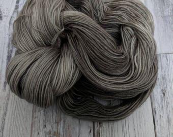 Yarn, Sock Yarn, Hand Dyed Yarn, Gray Yarn Superwash Merino Wool - Pewter Rings