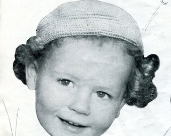 1940's Vintage Boy's Beret Crochet Pattern Instant Download PDF