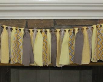 Yellow and Gray Rag Tie Banner - Stripe Rag Garland - Chevron Rag Garland - Rag Tie Garland - Yellow Rag Tie Garland - Yellow Rag Tie
