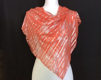Orange silk scarf, Evening dress scarf, Christmas Day Gift for Aunt, Tangerine Scarf, Silver Striped  Scarf, Sister in law Birthday Gift