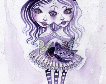 Gemini connection - double vision, twins, black cat, pentagram, siamese twins, digital fine art print, postcard, halloween, small art