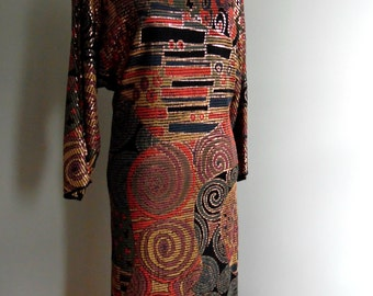 Vintage Hand Painted Metallic 70's  Dress, Size Medium